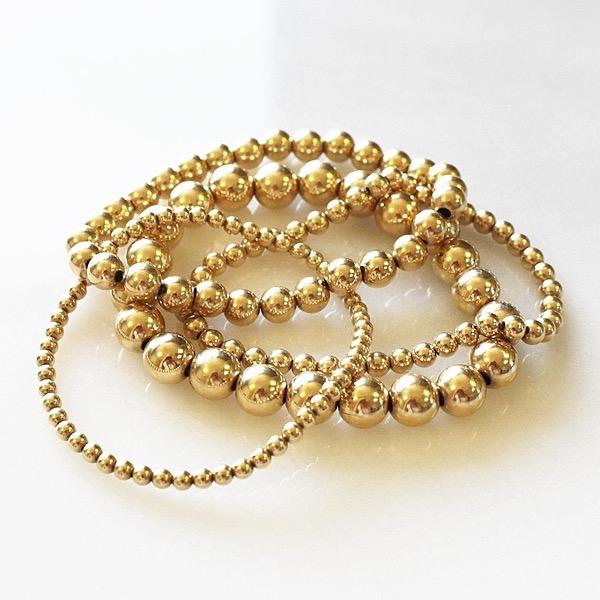 FROSTINGJEWELRY 14K Gold Bead Bracelet Stack Link Thumbnail   Linktree