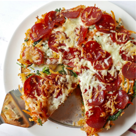 "Cheesy Pepperoni ""Spaghetti"" Pie"