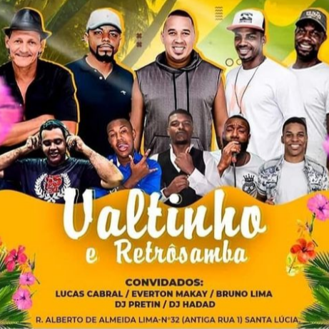 flyer Valtinho, Retrosamba e Dj Hadad-  FB EVENTOS