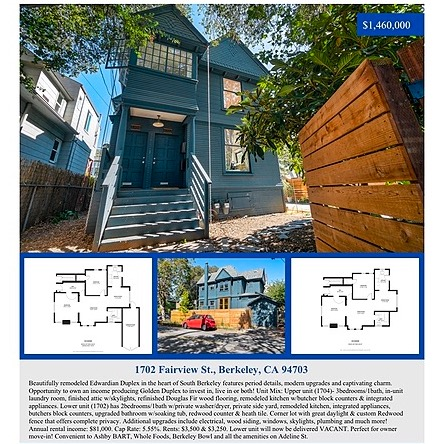 1702 Fairview St. Berkeley Duplex. Sold 💯