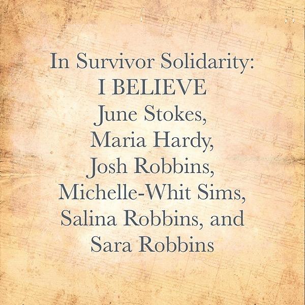 @afrolez In Survivor Solidarity: I BELIEVE June Stokes, Maria Hardy, Josh Robbins, Michelle-Whit Sims, Salina Robbins, and Sara Robbins Link Thumbnail   Linktree