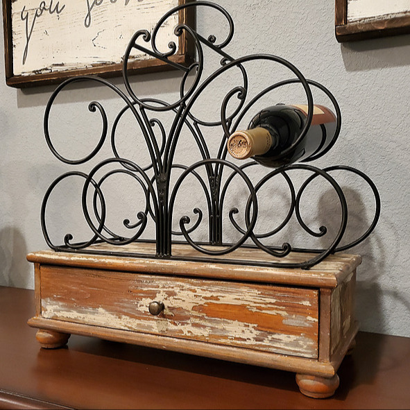 Rustic wood wine holder
