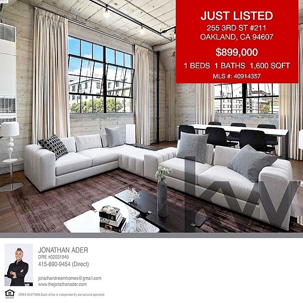 255 3rd St. # 211 Loft Sold in 15 Days- Jack London Square- Contact ME to See How!