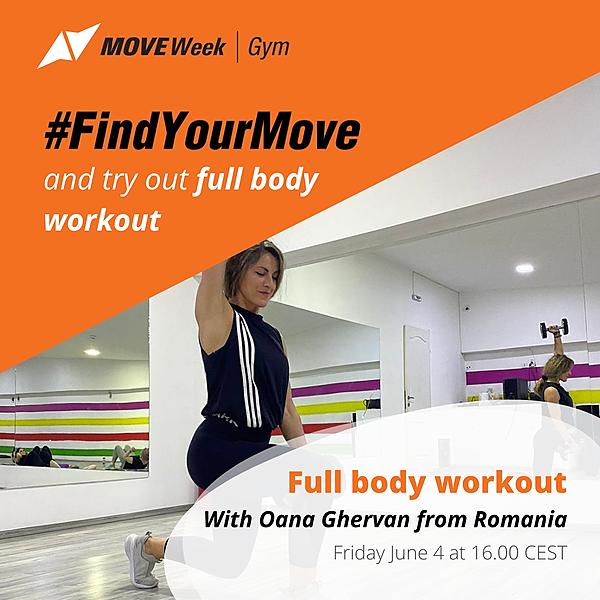 Fri, 16.00 CEST - Full body workout with Oana Ghervan