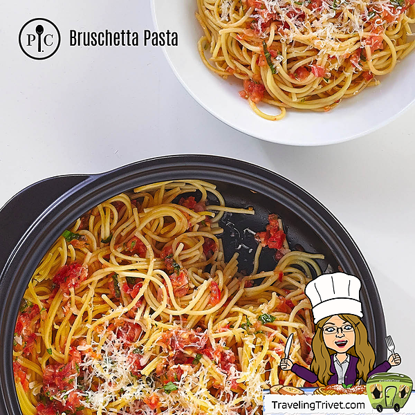 @TravelingTrivet 🚃 WELCOME! Bruschetta Pasta Link Thumbnail | Linktree