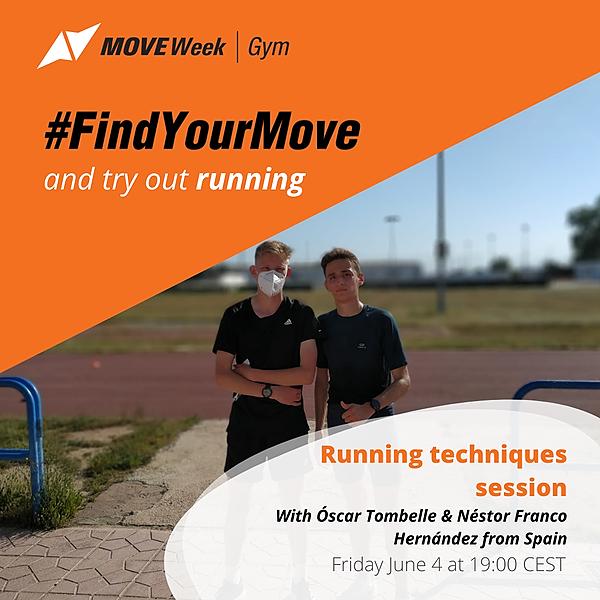 Fri, 19.00 - CEST Running techniques session with Óscar Tombelle & Néstor Franco Hernández
