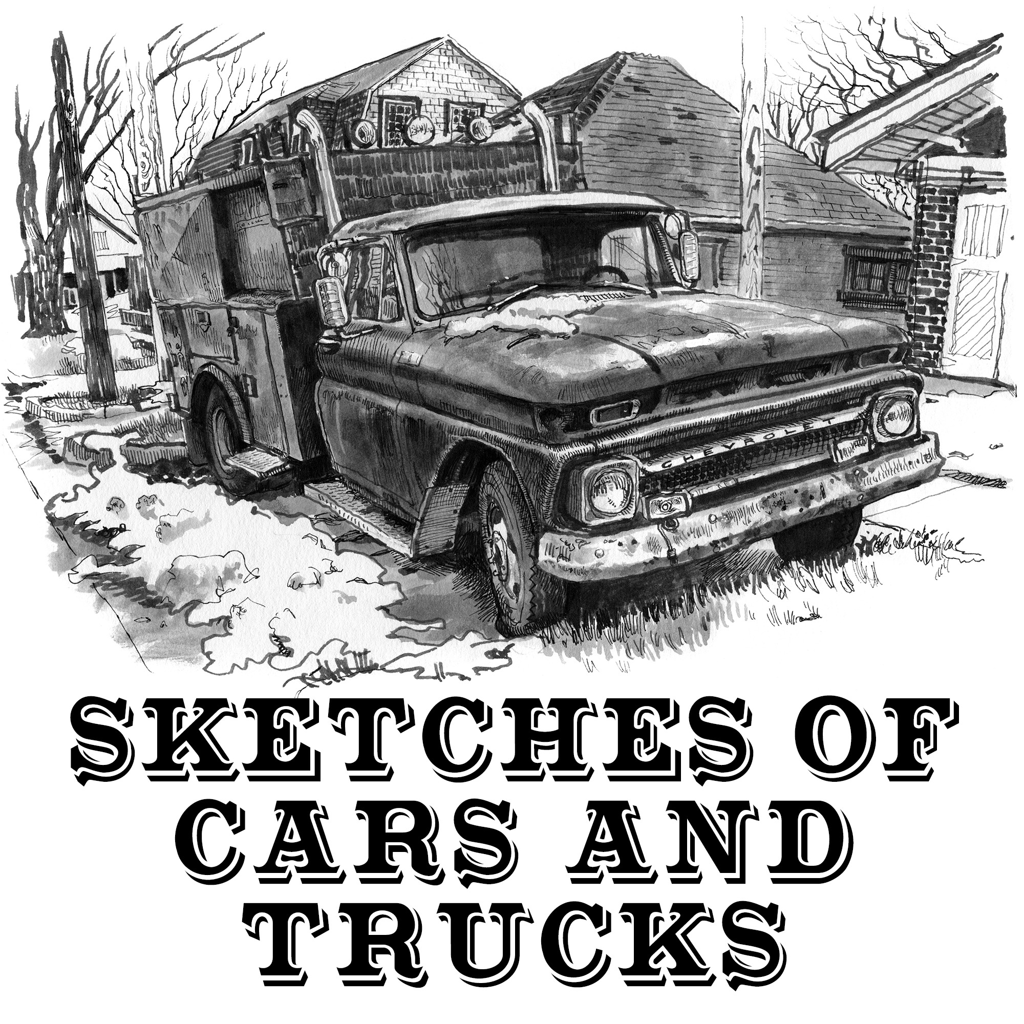 Book: sketches of cars and trucks