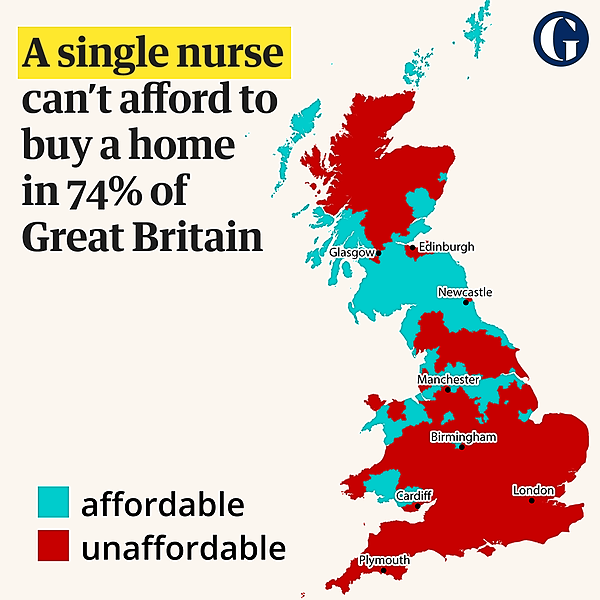 Covid frontline workers priced out of homeowning in 98% of Great Britain