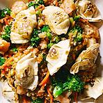 Chicken Cauliflower Rice with Wontons Recipe