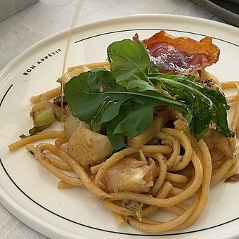 The Cordony Kitchen Bucatini with cauliflower, prosciutto and reggiano Link Thumbnail   Linktree