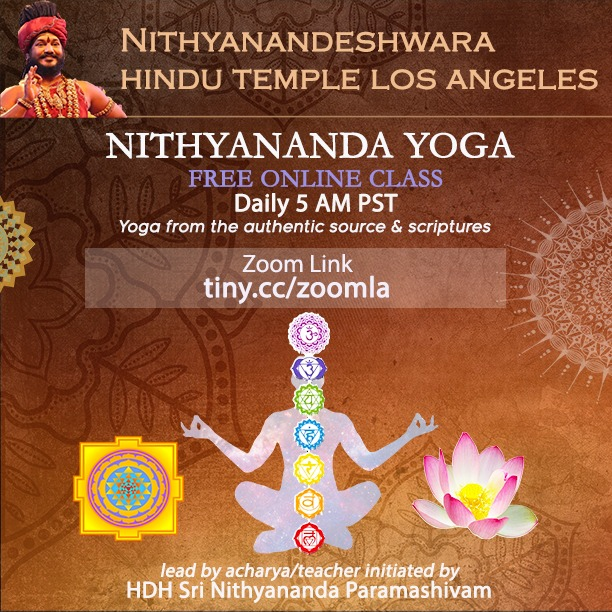 Morning Nithyananda Yoga Class: Daily 5 am PST
