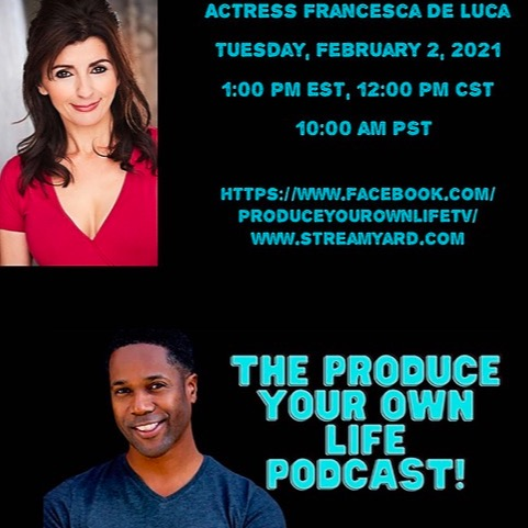 """@FrancescaDeLuca LIVE Interview on """"Produce Your Own Life"""" Podcast. Francesca is interviewed by host  Rodney Damon Collins. 2021.  Link Thumbnail   Linktree"""