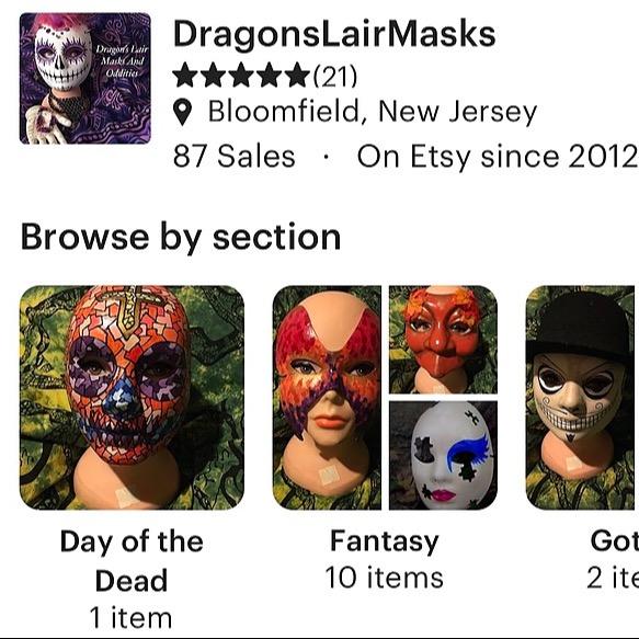 Dragon's Lair Masks Etsy Link Thumbnail | Linktree