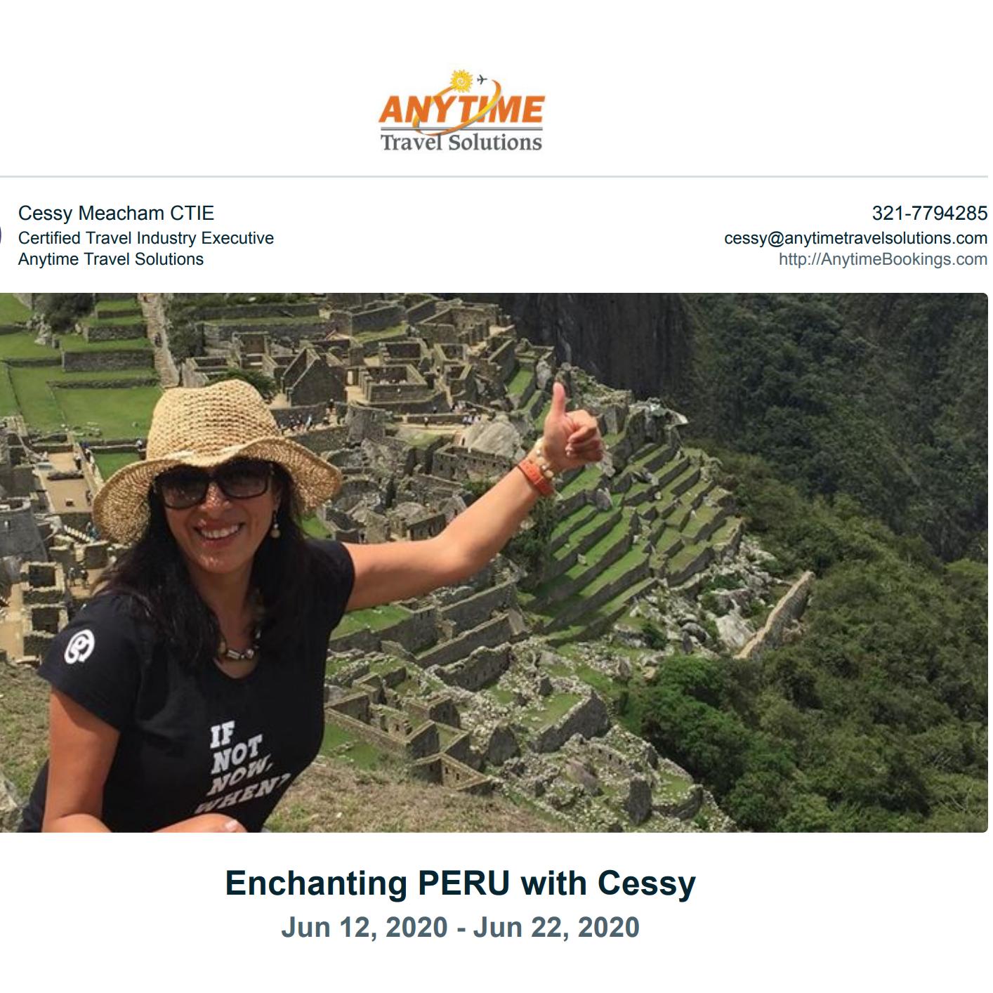Cessy Meacham Enchanting Peru JUNE 2022- Machu Picchu, Ica, Paracas Link Thumbnail | Linktree