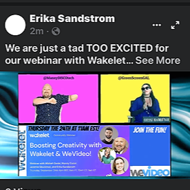 Wakelet and WeVideo are joining forces to share the POWER of CREATIVITY!  Free Webinar!