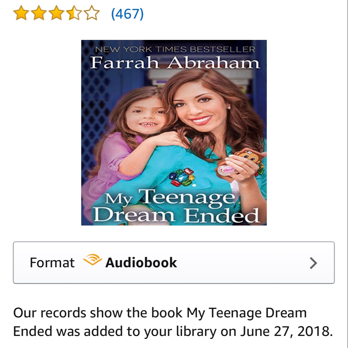 "AUDIO BOOK ""MY TEENAGE DREAM ENDED"" NEW YORK TIMES BEST SELLING MEMOIR 📚"