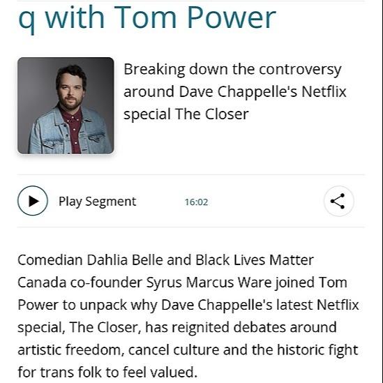 Mx. Dahlia Belle Tom Power Interview (CBC Radio) Link Thumbnail   Linktree