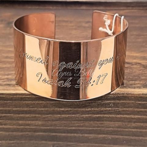 Copper cuff bracelet Isaiah 54:17
