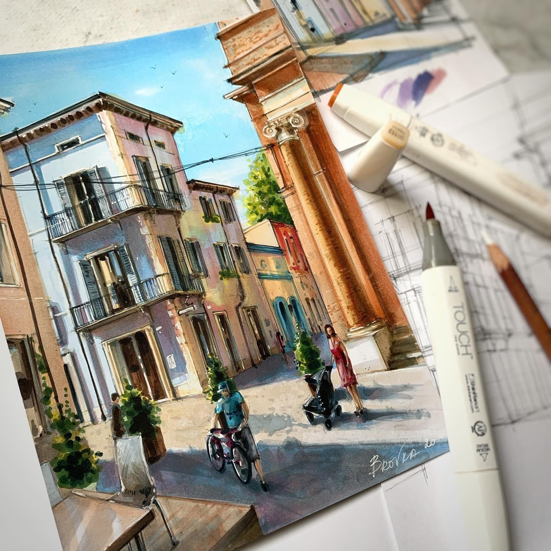 17.09-17.12.20 онлайн-курс «Архитектура 3D спиртовыми маркерами». Успей забронировать место до 10 сентября с 30% скидкой