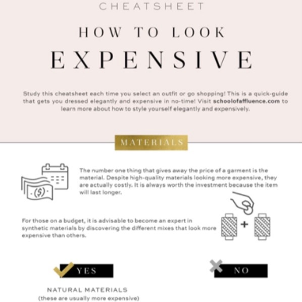 DOWNLOAD YOUR FREE CHEATSHEET: How To Look Expensive On Any Budget!
