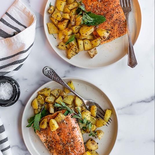 Sheet Pan Greek Salmon and Potatoes