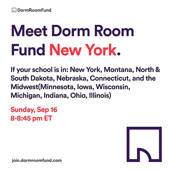 Dorm Room Fund Meet the New York Team on 9/16: Register Here Link Thumbnail   Linktree