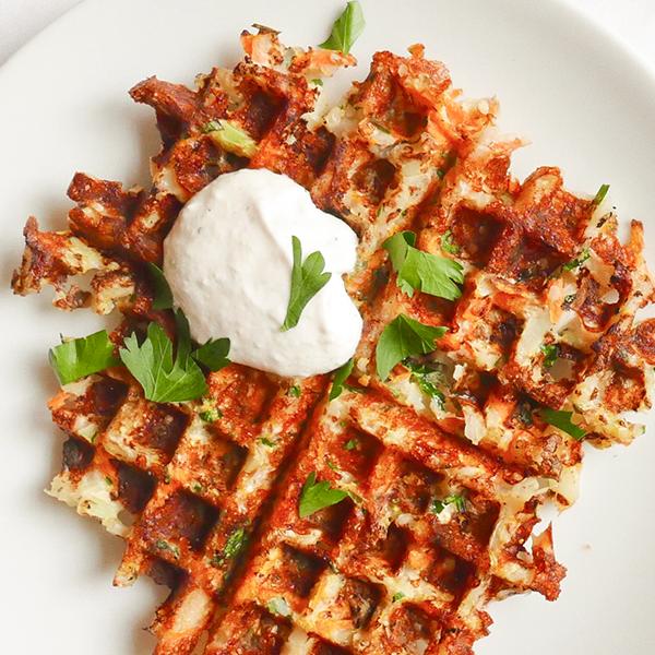 Cheesy Cauliflower Waffle Recipe