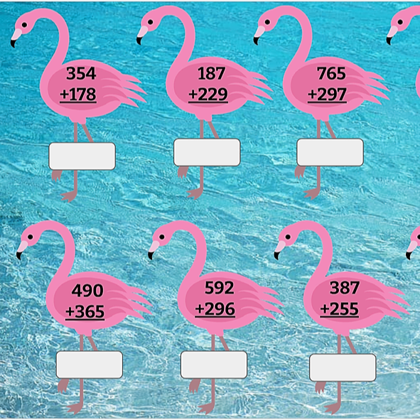 Addition with Regrouping  (Flamingo)