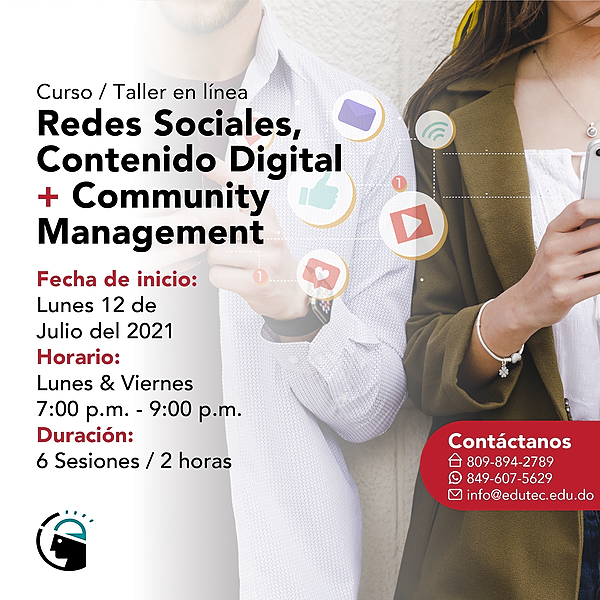 CURSO TALLER REDES SOCIALES, CONTENIDO DIGITAL Y COMMUNITY MANAGEMENT - Lunes 12 JuLio