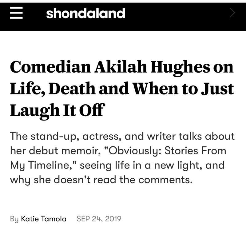 Akilah Hughes Interview w/ Shondaland Link Thumbnail   Linktree