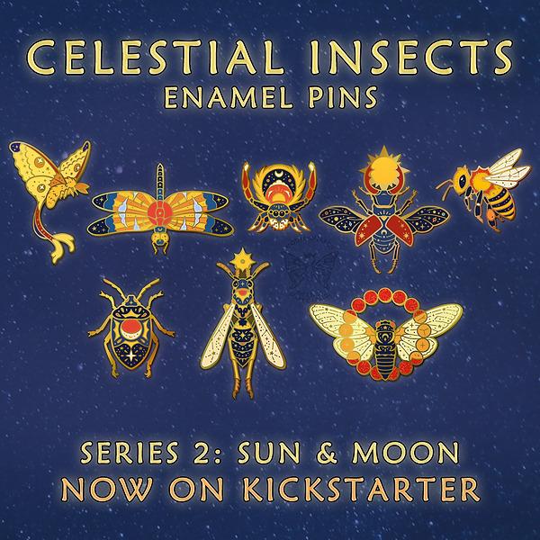 @marycapaldi Celestial Insects Enamel Pins 2: Sun & Moon Kickstarter! Link Thumbnail   Linktree