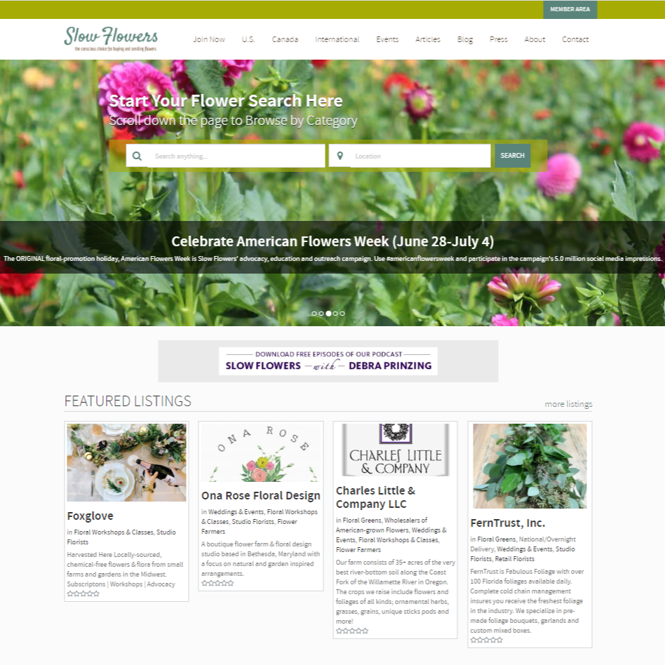 SEARCH: Slow Flowers Directory