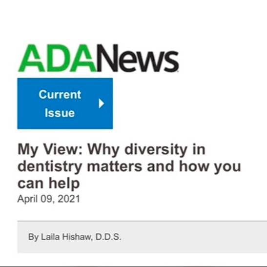 ADA News Editorial on Diversity In Dentistry by Founder, Dr. Hishaw