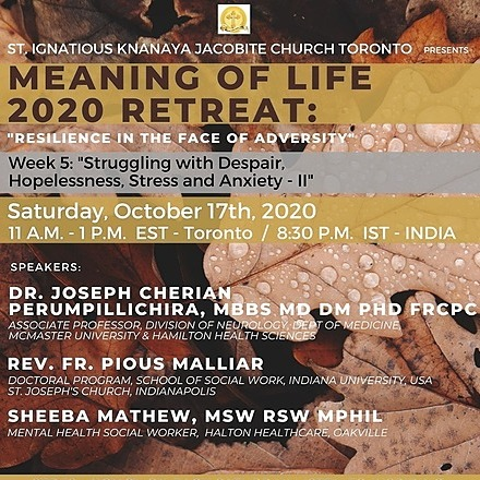 """@stignatiousseniors Speakers List for Week 5 of """"Meaning of Life 2020 Retreat"""" Seminar Link Thumbnail 