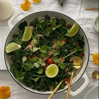 The Cordony Kitchen SALMON AND COCONUT RISE WITH TOMATO AND KALE  Link Thumbnail   Linktree
