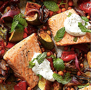 Roasted Salmon with Chickpeas, Zucchini, and Red Pepper Recipe
