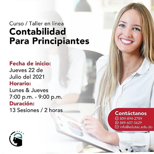 CURSO TALLER CONTABILIDAD PARA PRINCIPIANTES - Jueves 22 Julio