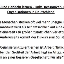Anti-rassismus Ressourcen in deutsch