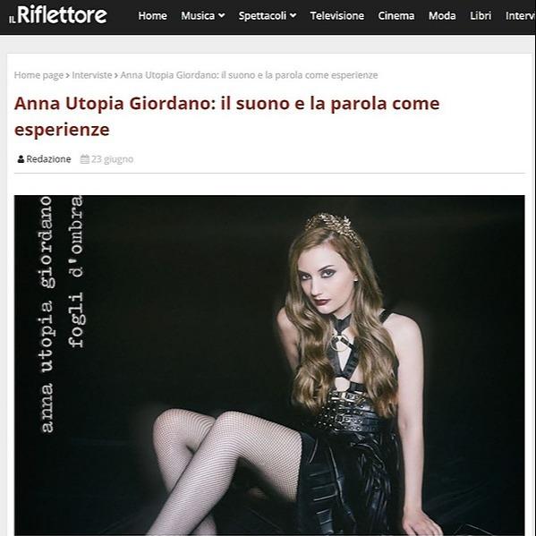 Anna Utopia Giordano Leggi l'intervista su Il Riflettore Link Thumbnail | Linktree
