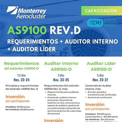 ✈️  AS9100 revD: Requerimientos + Formación de Auditores Internos + Auditores Líderes ✈️