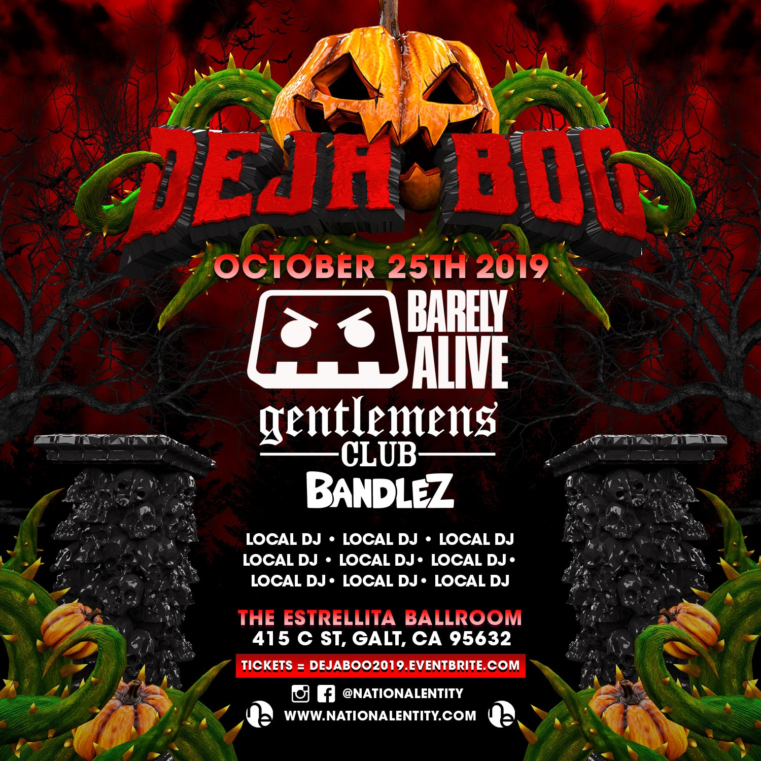 Deja BOO - FB Page - Feat. Barely Alive, Gentlemans Club, Bandlez