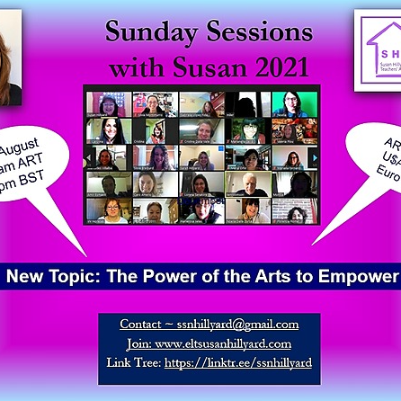 @ssnhillyard 8th August Sunday Session with Susan N° 4 The Power of the Arts to Empower  Link Thumbnail | Linktree