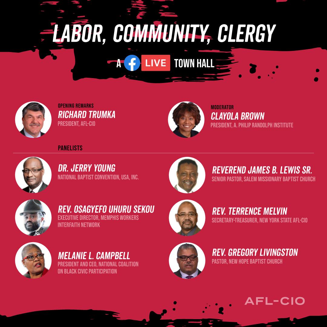 Rev. Gregory Seal Livingston #GeorgeFloyd RSVP AFL-CIO Virtual Townhall: Labor, Community & Clergy Tuesday June 16th @ 10am EST Link Thumbnail | Linktree