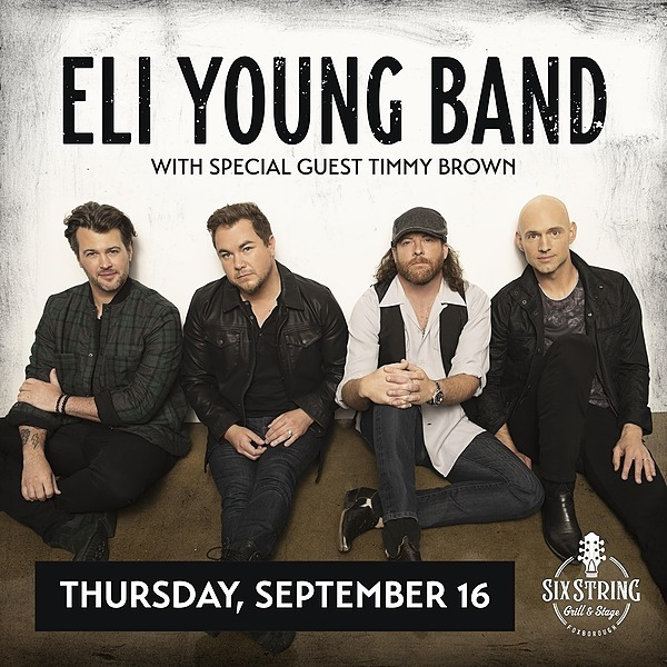 @rockonconcerts Thu 9/16 - Eli Young Band + Timmy Brown @ Six String Grill & Stage, Foxborough MA - On Sale Fri 723 Link Thumbnail | Linktree