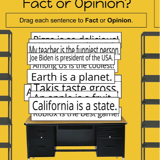 Fact and Opinion Drag and Drop