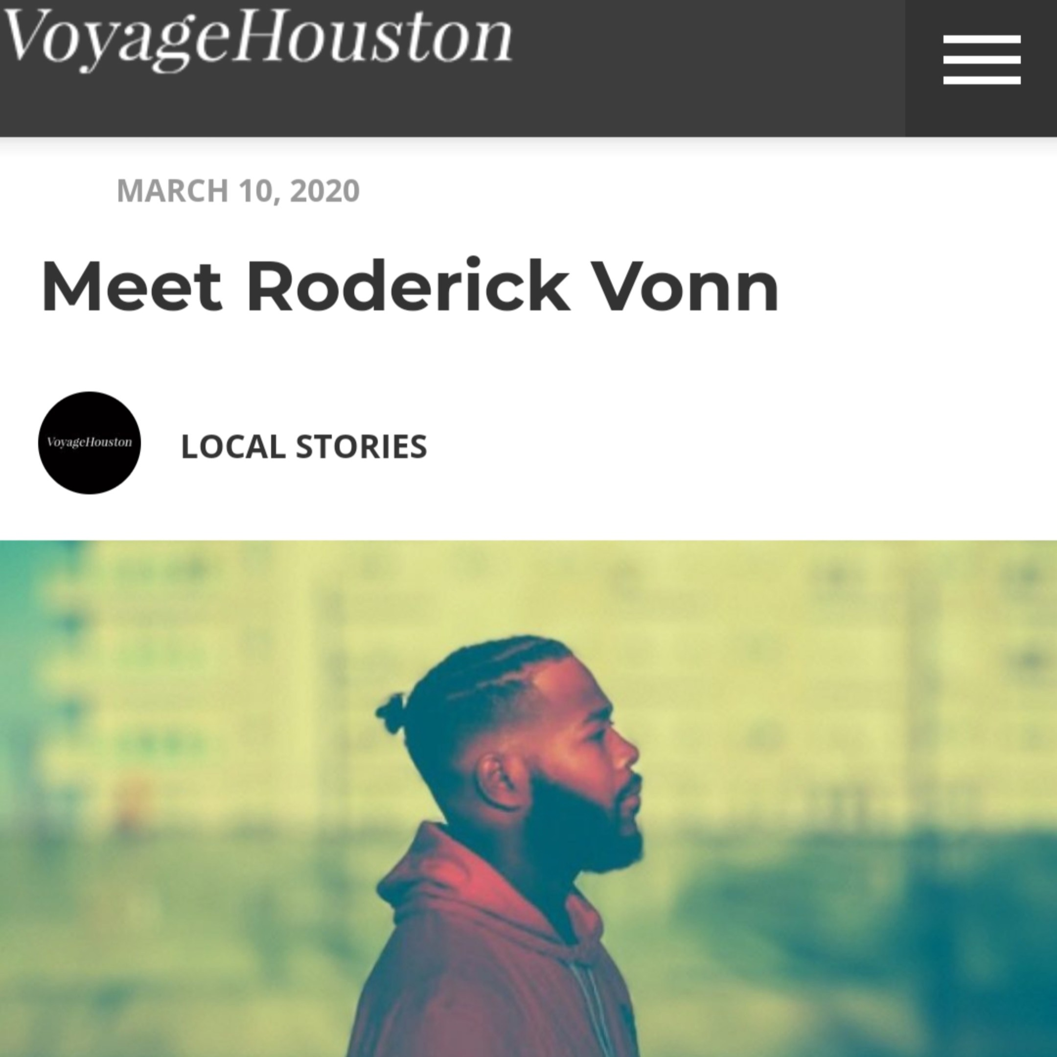 Roderick Vonn Interview W/Voyage Magazine