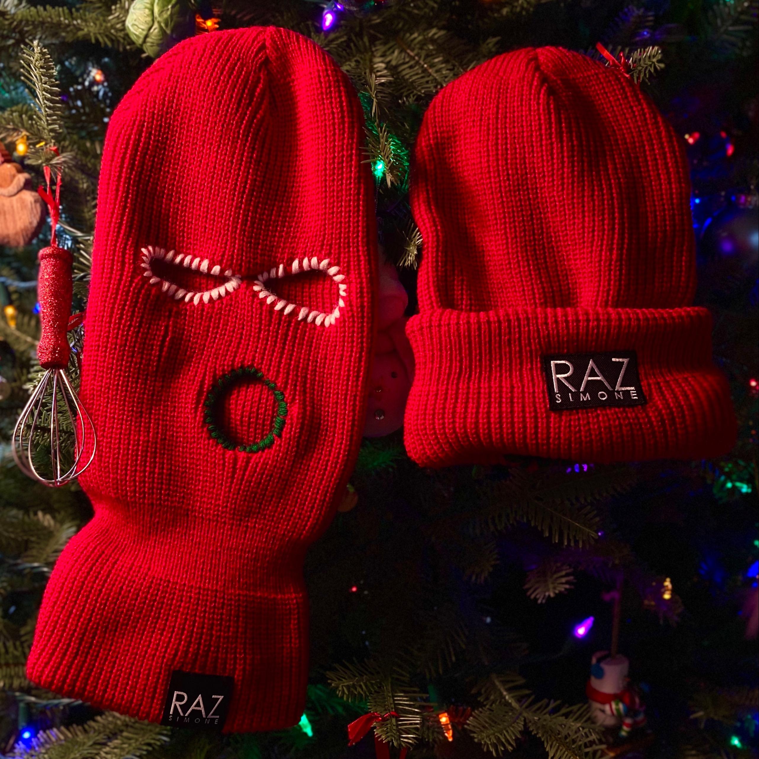 Red Christmas Skimask Beanies