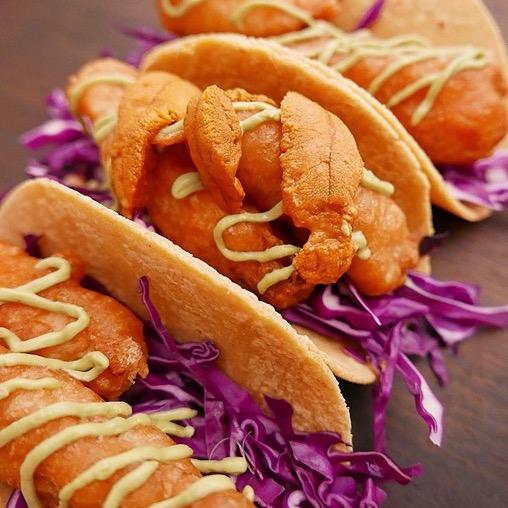 Hawaiian Kanpachi Tacos with Uni