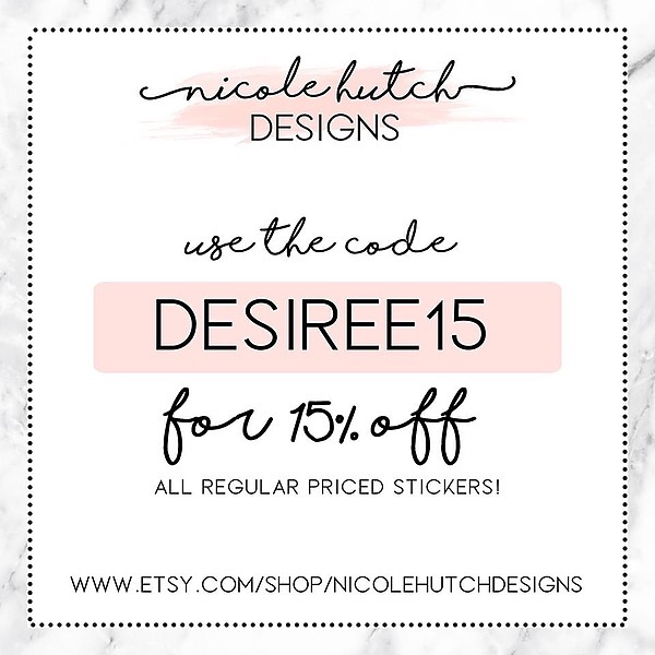 @DesireePlans 💖 Affiliate Nicole Hutch Designs Stickers.    Use DESIREE15 for discount  Link Thumbnail | Linktree