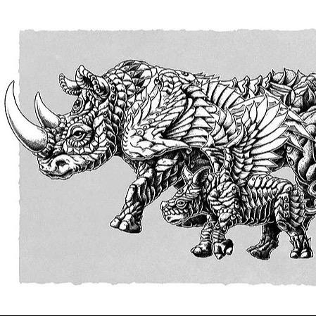 Rhino Art Black and White
